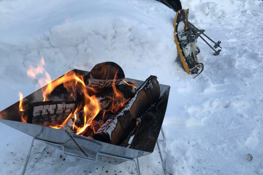 真冬の焚き火が最高